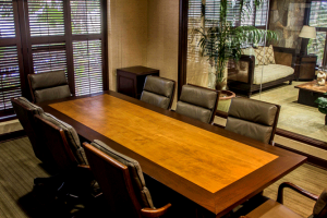 Conference room with video conferencing